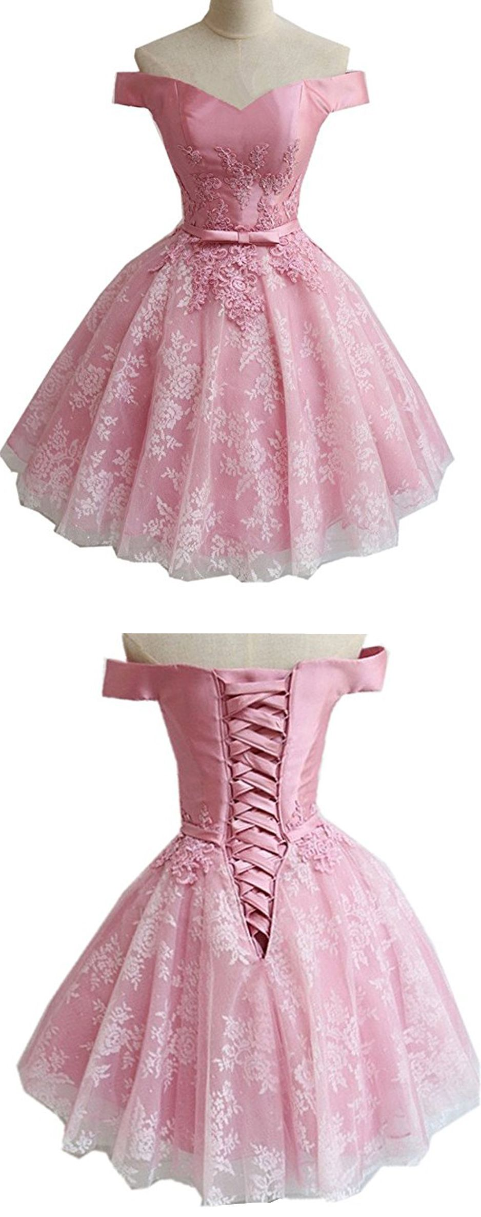 Ball gown offtheshoulder short pink homecoming dress with