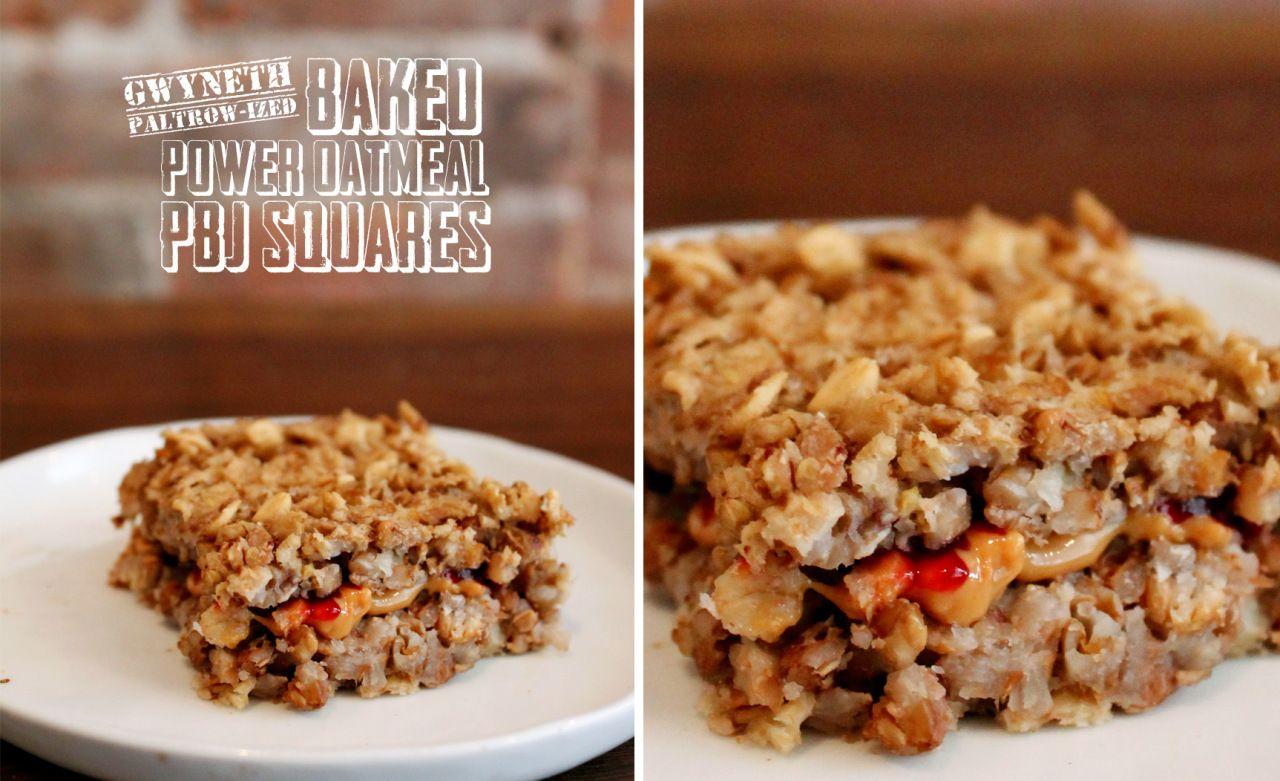 gwyneth paltrow-ized baked power oatmeal pbj squares