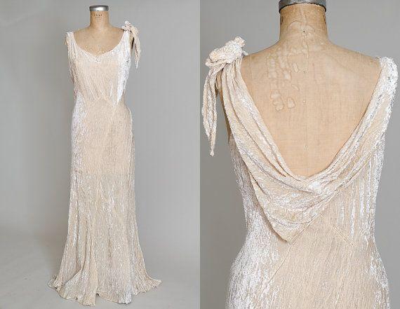 1920s Velvet Wedding Flapper Dress Plunging Back Ivory Silk Velvet ...
