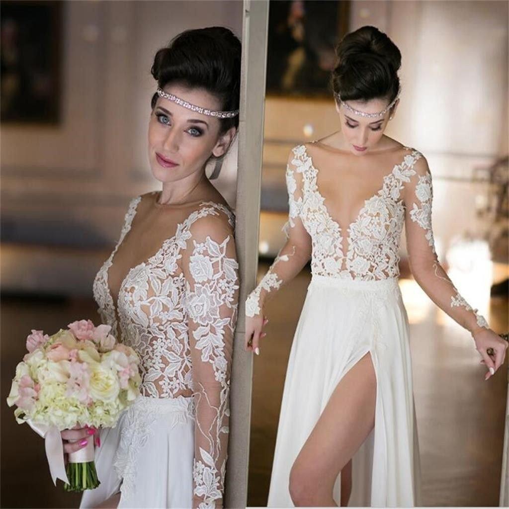 Long sleeves seen through deep v neck cheap wedding dresses bg