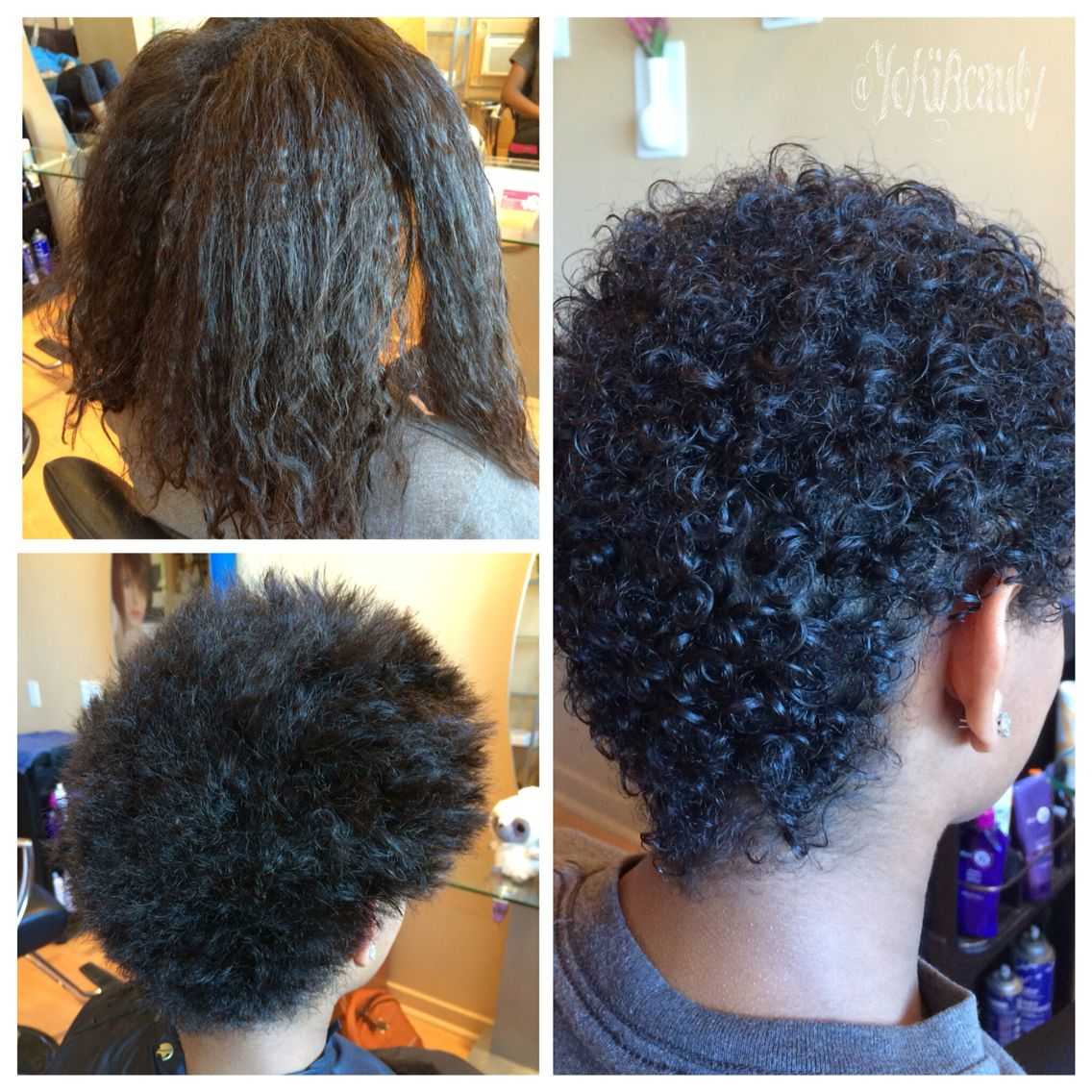 The big chop!! Before cutting her relaxed hair and after