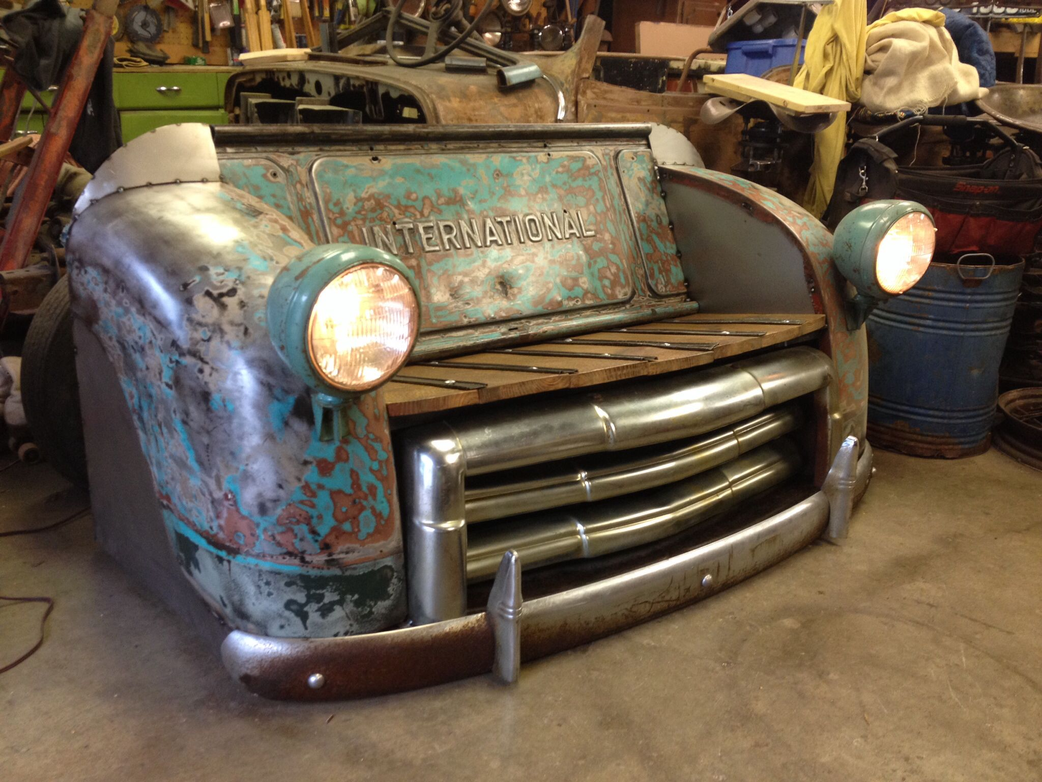 New international bench with gmc grill and chevy bumper and working ...
