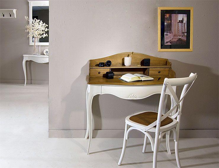 Mesa de escritorio vintage frances material madera for Sillas de madera para escritorio