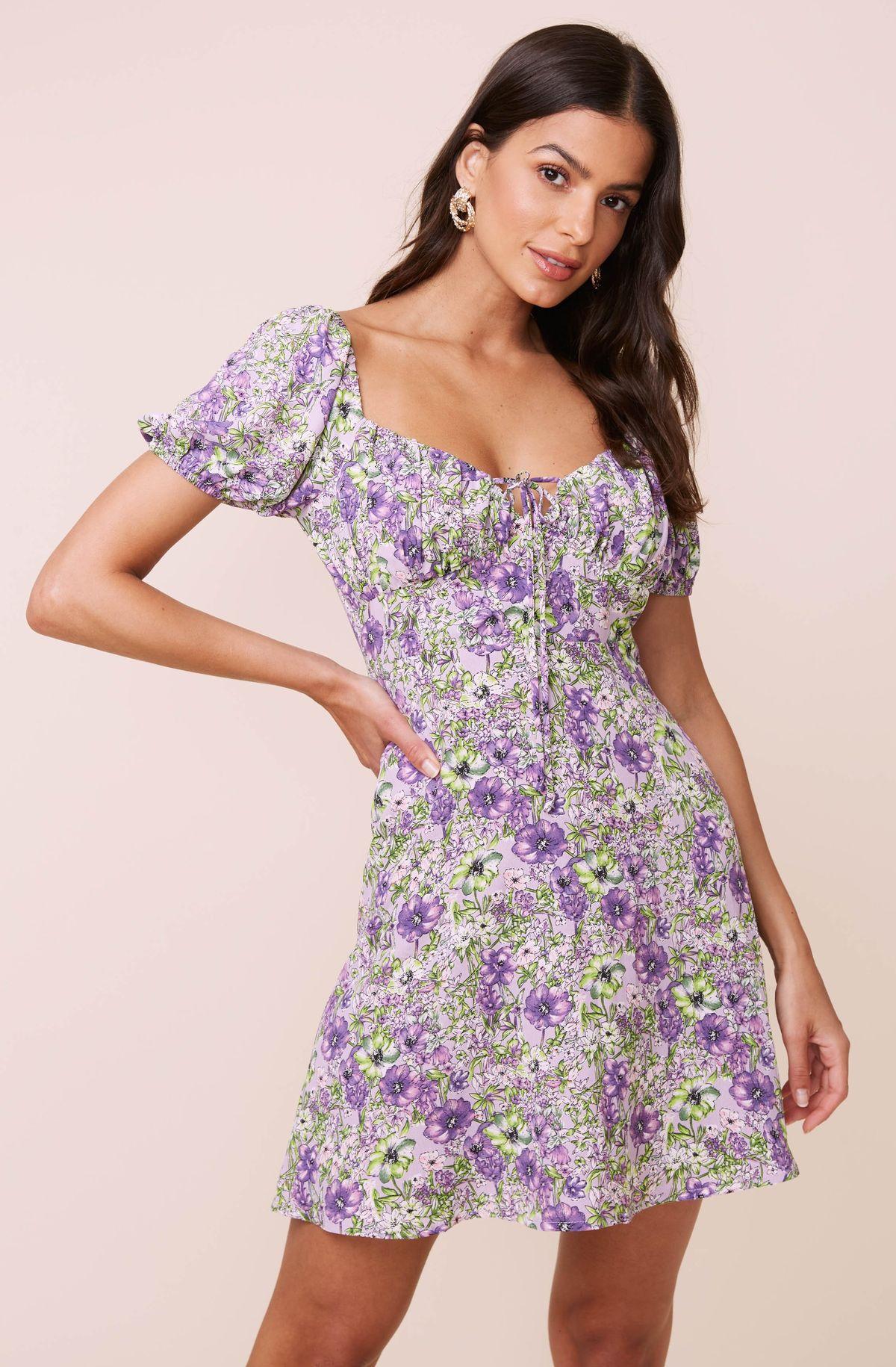 Ti1621110730tld9731321ef4e063ebbee79298fa36f56 In 2021 Mini Dress Floral Short Dress Casual Purple Dress Outfits [ 1830 x 1200 Pixel ]