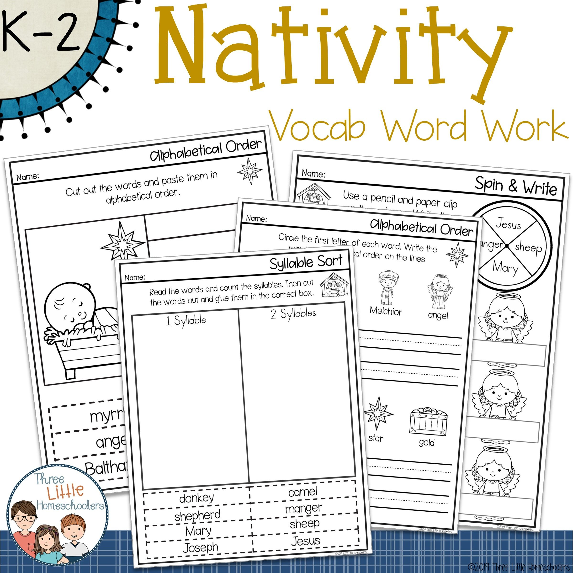 Christmas Nativity Spelling Word Work Pack