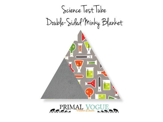 Science Test Tube Themed Double-Sided Minky Blanket by Primal Vogue™ - 36x36 40x60 - Charcoal Grey - Very Soft Cuddle Minky