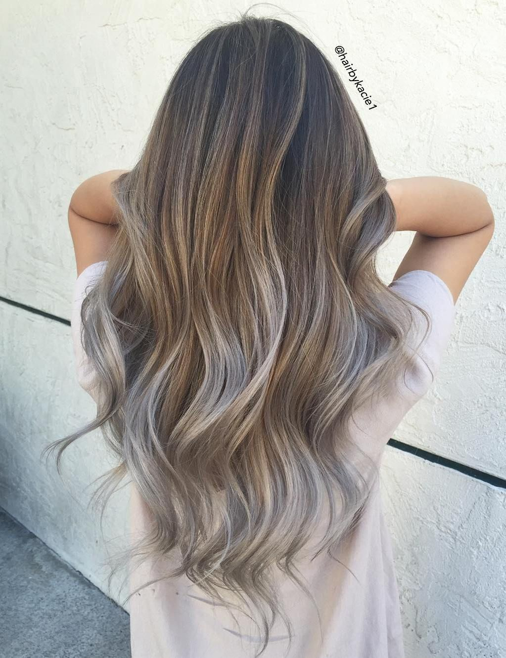 Lovely Light+Brown+And+Silver+Balayage+Hair // Gray Hair Trend Amazing Design