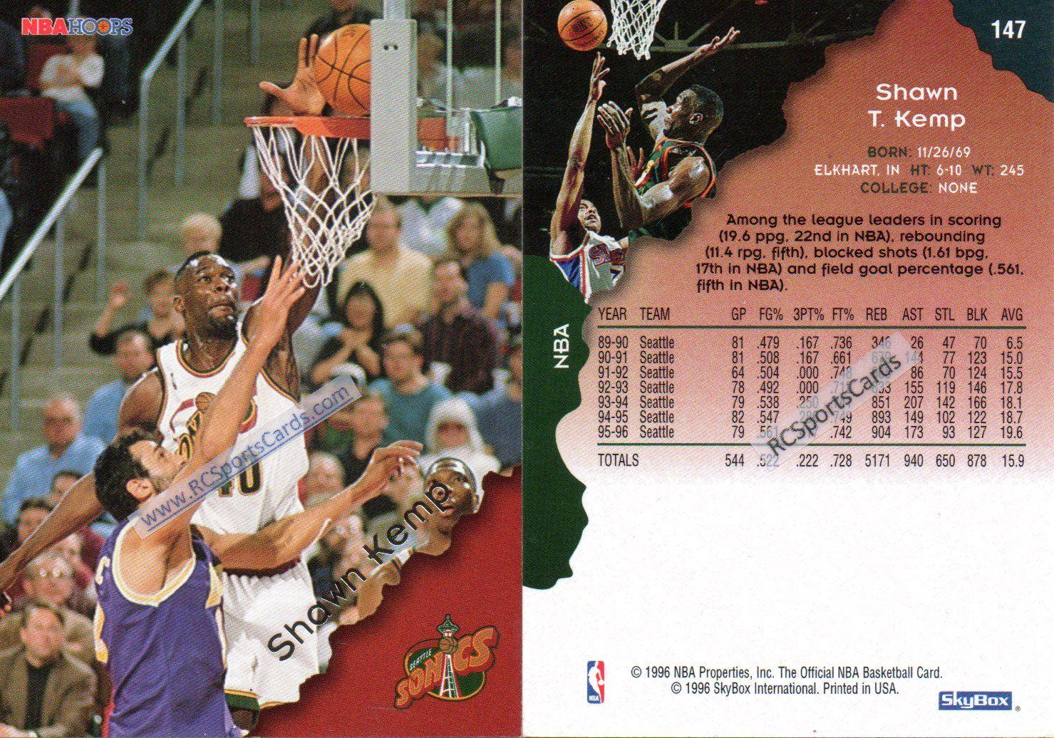 199697 shawn kemp 2 hoops cards 147 itmn3414 sonics