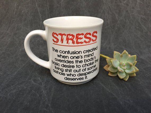 "80's Coffee Mug ""STRESS"" Definition Work Life Humor // Tea ..."