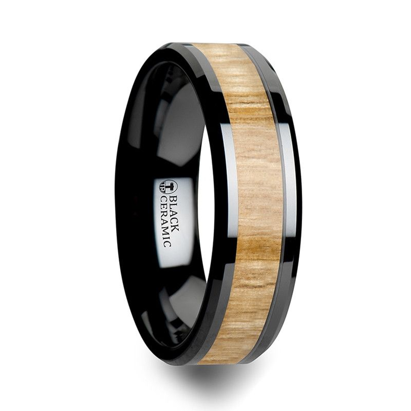 Asheville Black Ceramic Wedding Band With Ash Wood From Wedding Bands Hq With Images Black Ceramic Ring Wood Inlay Rings Ceramic Wedding Bands