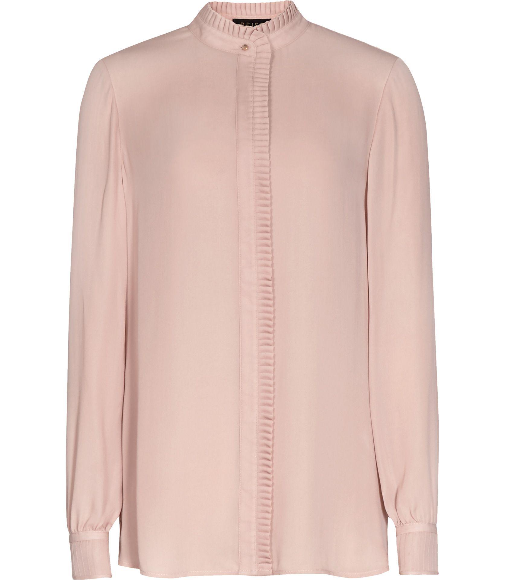 7d653cc4e39ea Womens Pink Chalk Pleat-detail Silk Blouse - Reiss Felton