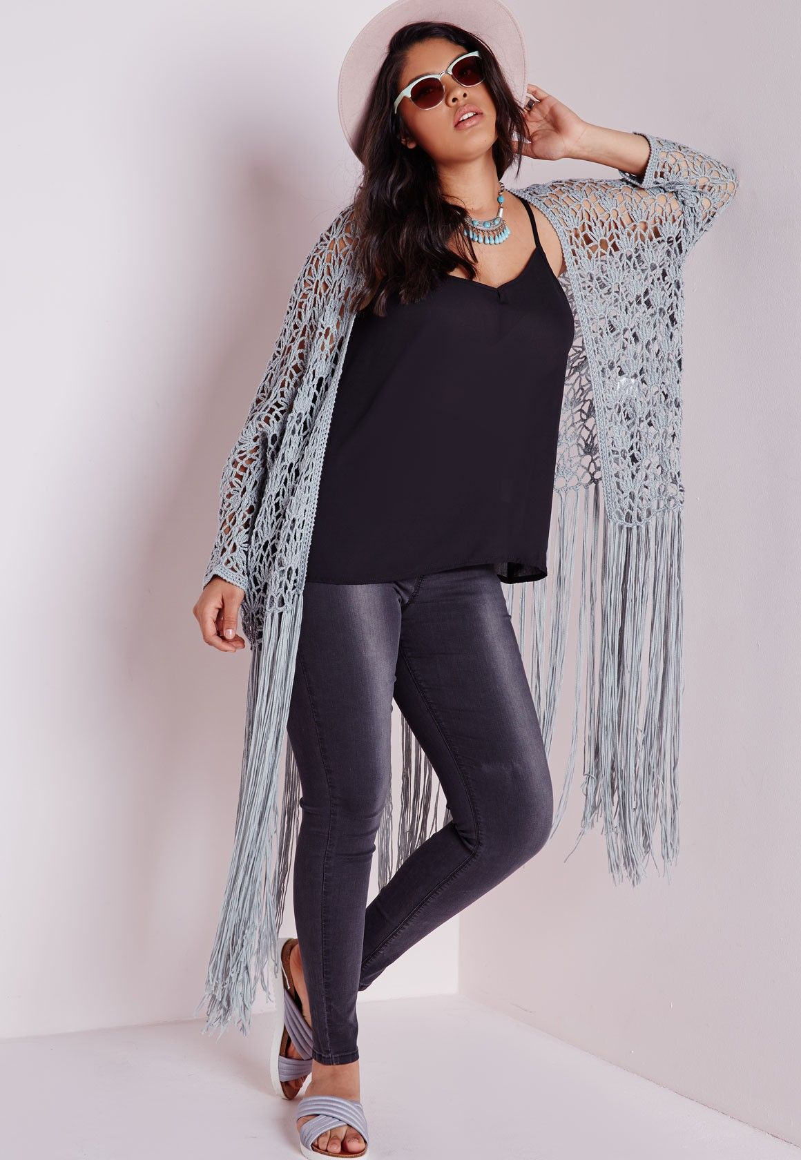 Plus Size Crochet Long Tassel Cardigan Grey - Plus Size Knitwear ...