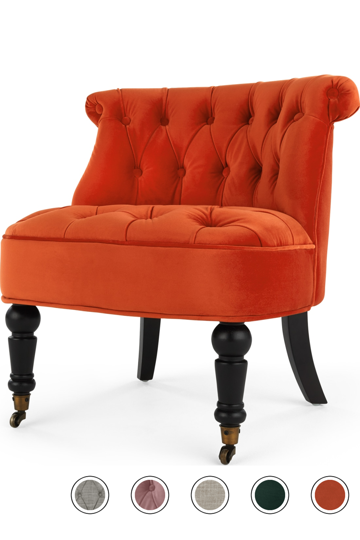 Best Made Flame Orange Velvet Armchair Accent Chairs Green 400 x 300