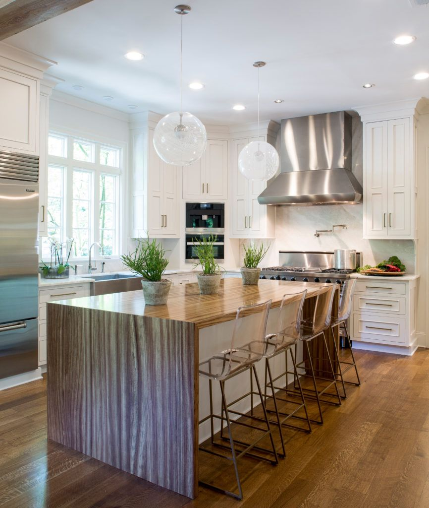 Zebrawood Pastore Table Designed By Kitchens Unlimited Wood Countertops Kitchen Island Hardwood Floors In Kitchen Waterfall Countertop