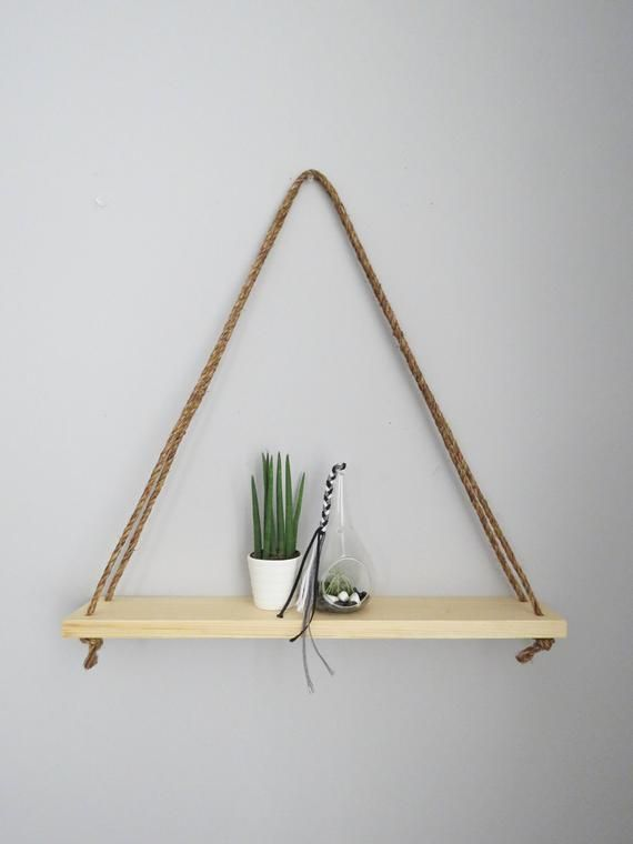 NATURAL Triangle Hanging Shelf • Succulent Shelf • Wall Decor • Rope Shelf • Knick Knack Shelf • Rus #knickknack