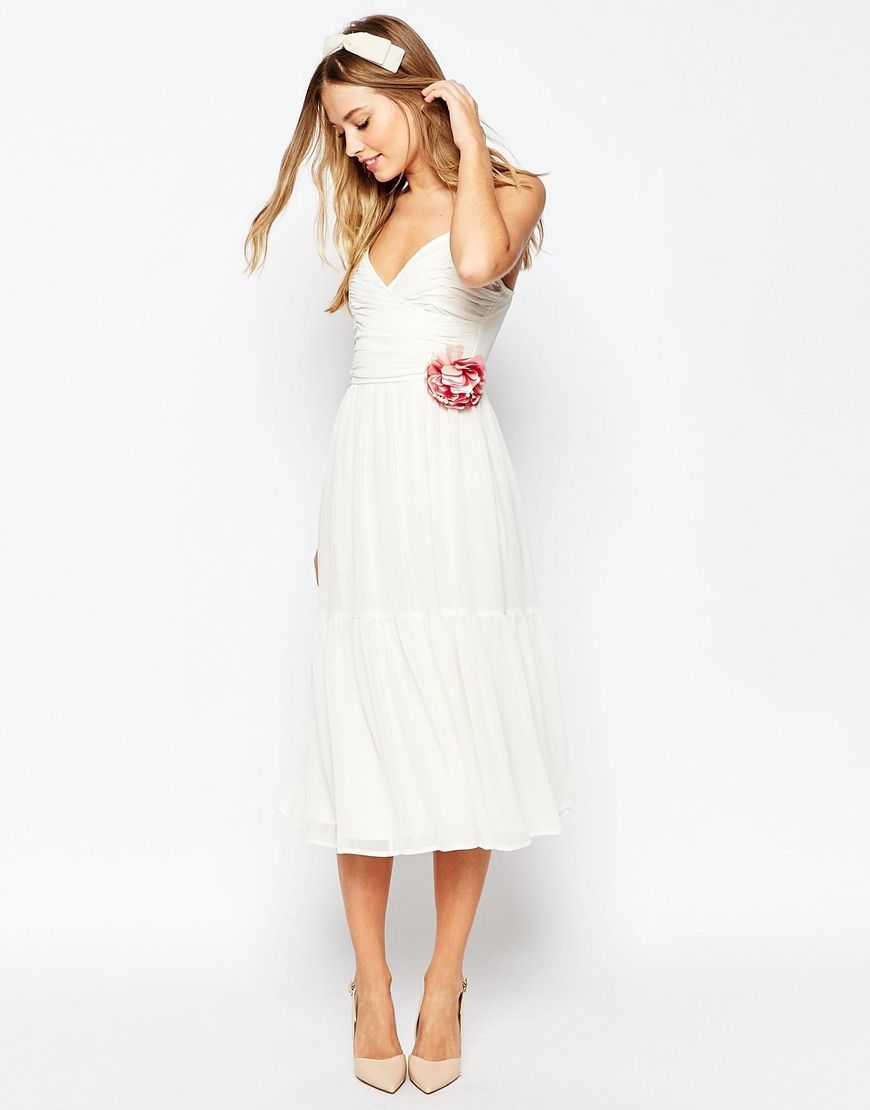 a813b80eae Image 1 of ASOS WEDDING Corsage Cami Tiered Midi Dress