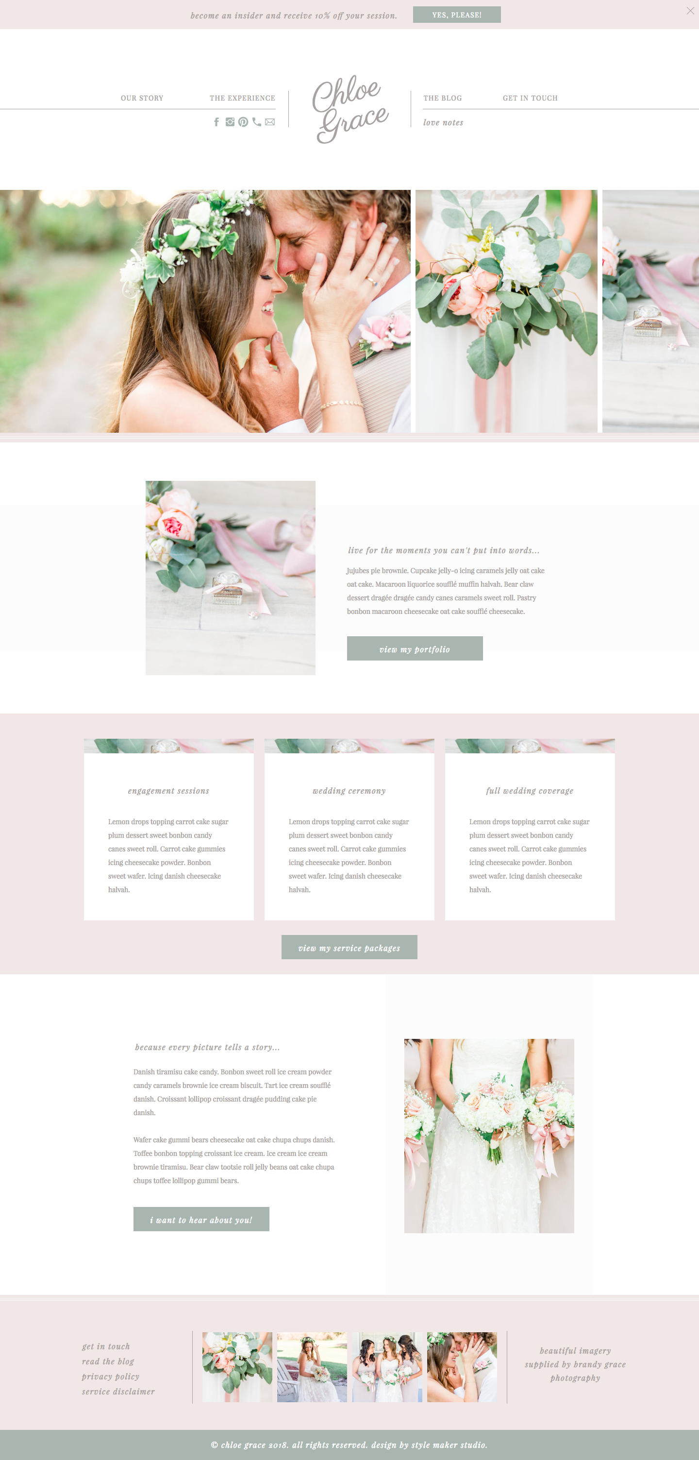 Chloe Grace Website Template Showit Wedding Planner Theme Showiteer Planning WordPress Blogger