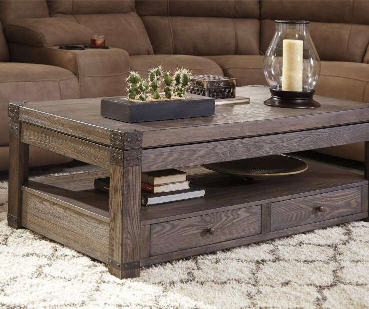 Signature Design By Ashley Buladen Lift Top Coffee Table Coffee Table Chic Coffee Table Rustic Coffee Tables