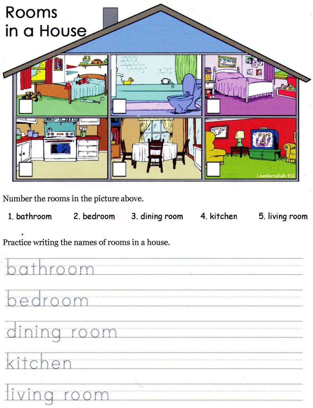 Rooms In A House Esl Worksheet