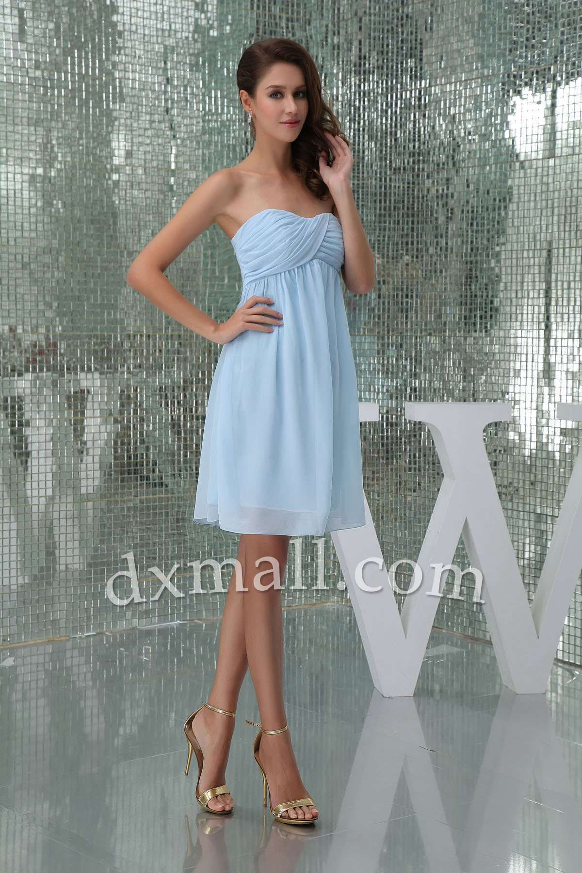 Empire Wedding Guest Dresses Strapless Knee Length Chiffon Light Sky ...