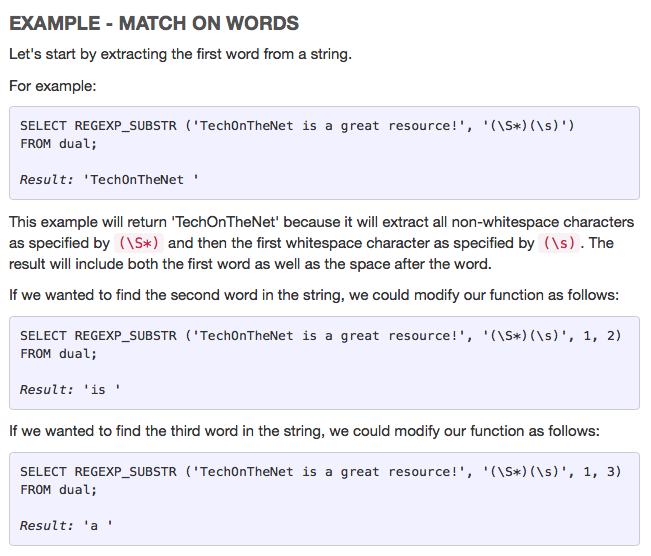 Page Not Found Regular Expression Oracle Words