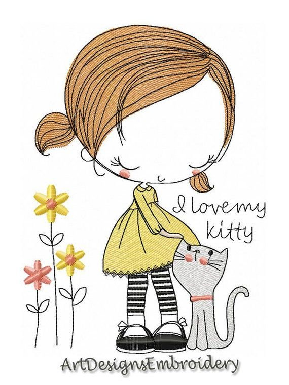 I love my kitty machine embroidery design embroidery | Etsy