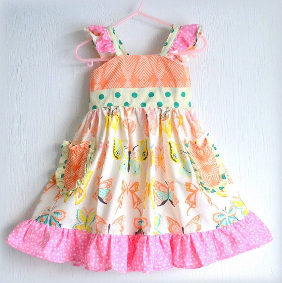 Little Girls Spring Party Dress Butterfly Dress by GirlWithATwirl