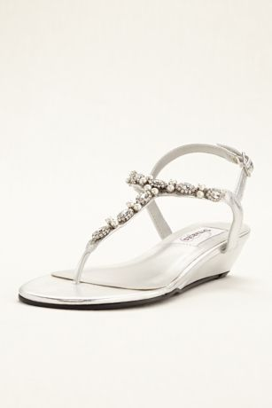 85596b889c844 These gorgeous low wedge thong sandals transition effortlessly from day to  evening! Low wedge thong sandal feature glittering rhinestones and pearls  lining ...