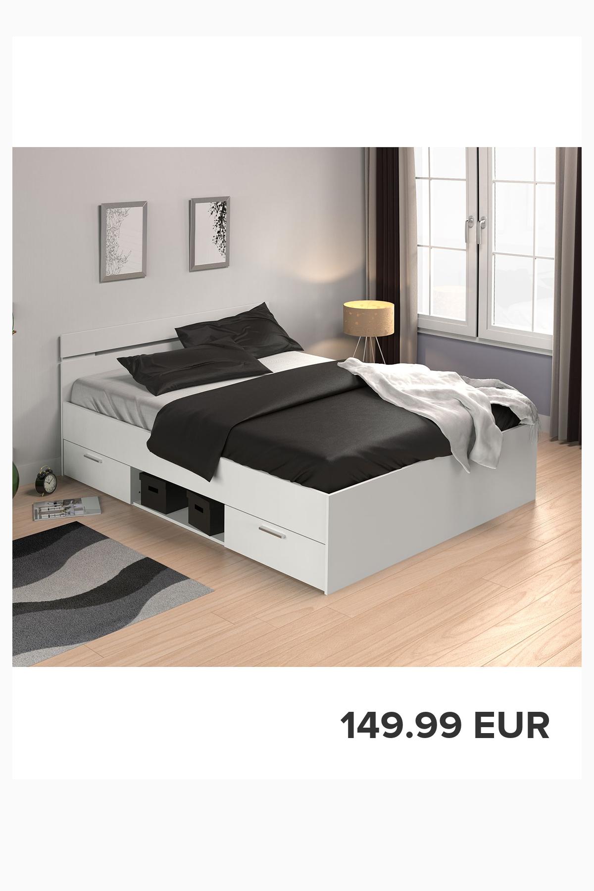 Doppelbett Michigan In 2020 Bett Ideen Stauraumbett Bett 140x200 Weiss