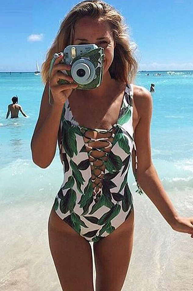 a879c3b831b Bali Floral Kira Lace Up One Piece Swimsuit | summer . | Swimsuits ...