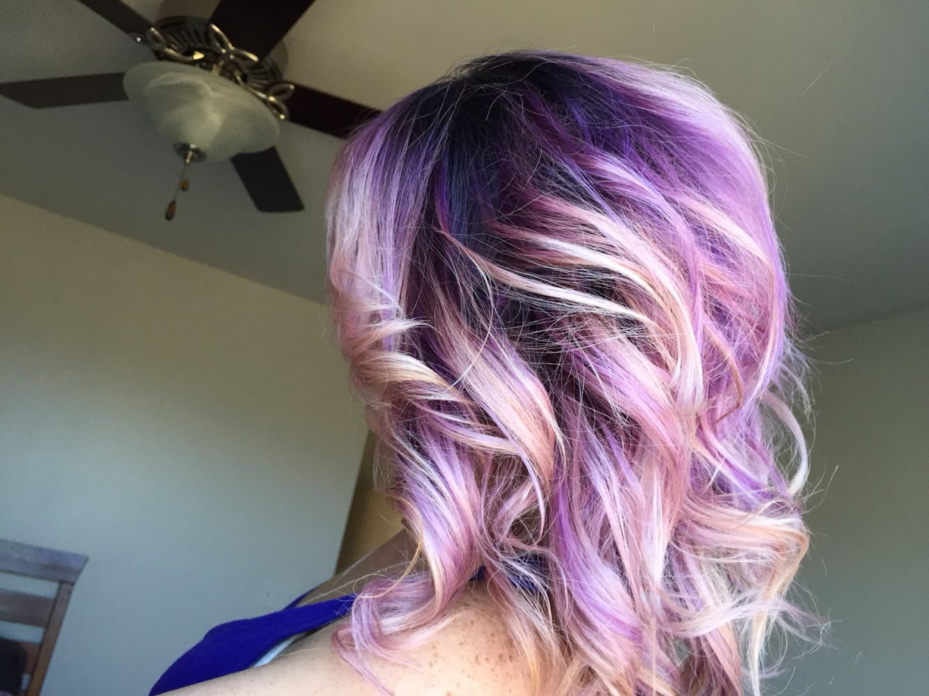 Purple Ombre Hair Dark Roots With Light Purple Pink Ends
