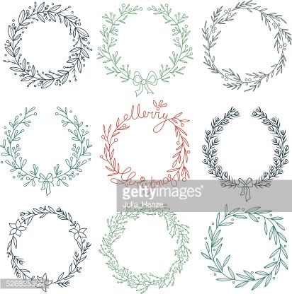 Set Of Winter Wreaths Vector Art | Getty Images