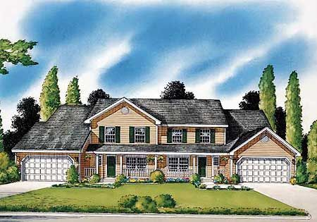 Plan 11067G Country-Styled Duplex Foyers, Basements and Porch