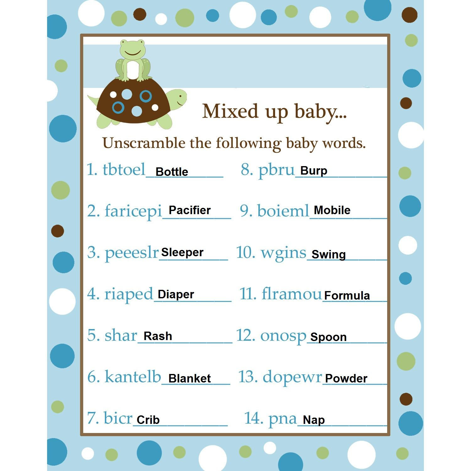 Baby Shower Word Scramble Answers Blue