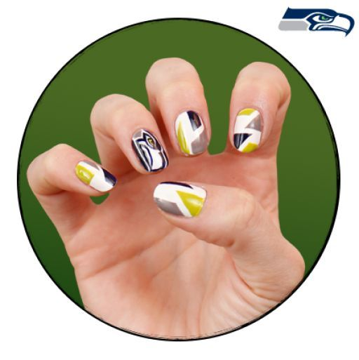Super Bowl nail art — Seahawks design