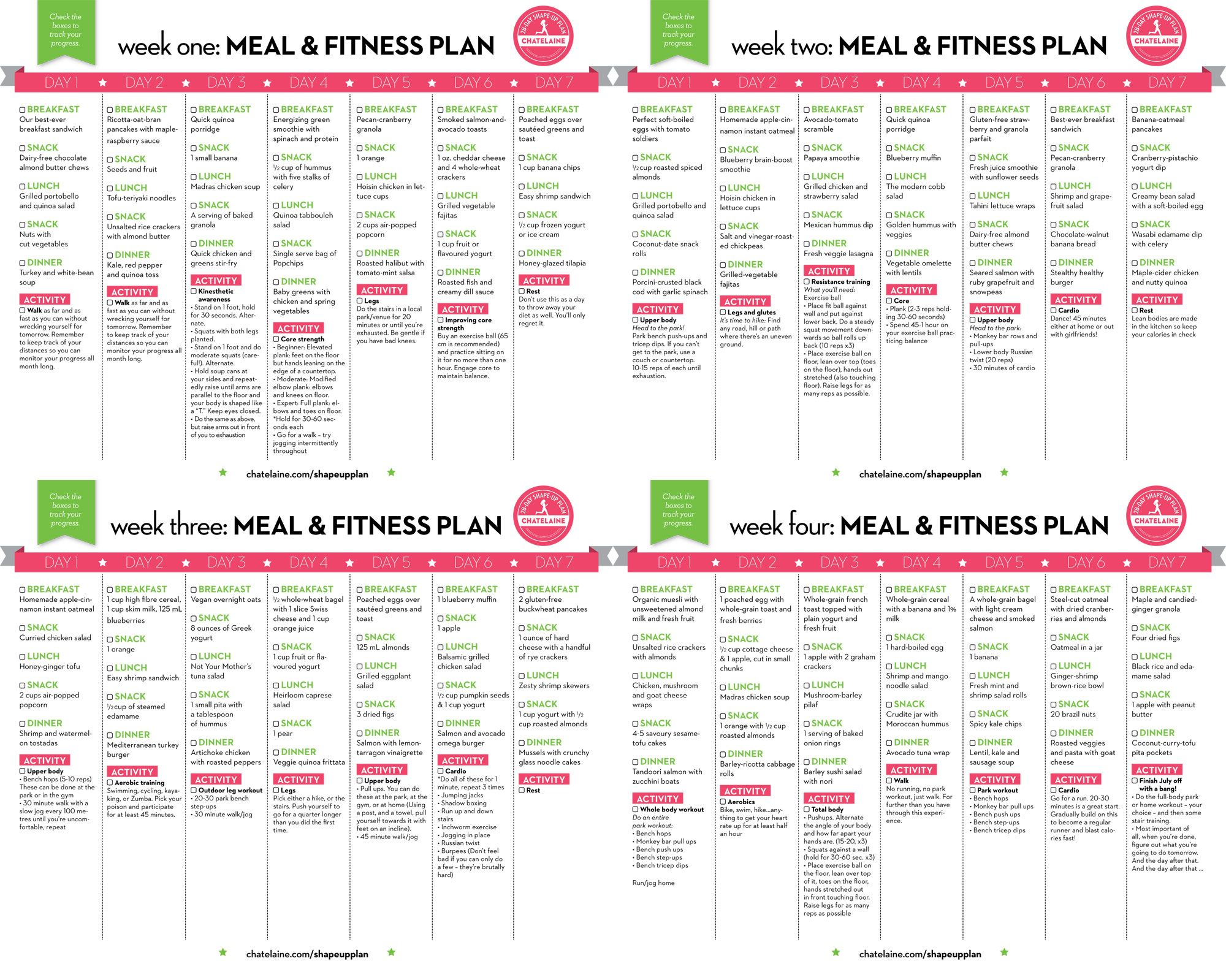 28 Day Shape Up Plan Chatelaine How To Plan Health Health And Wellness