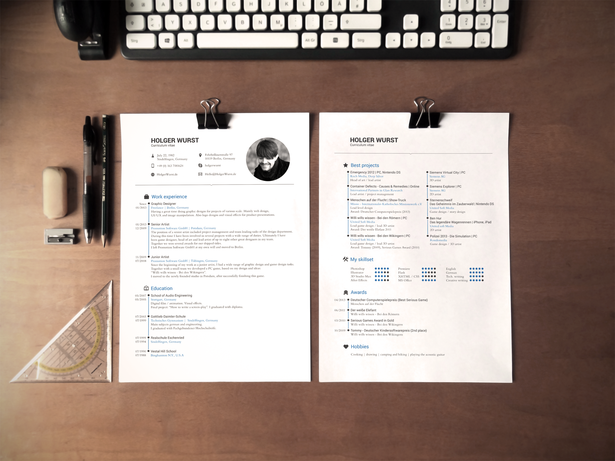 CV, resume and cover letter template by Designed in Berlin ...