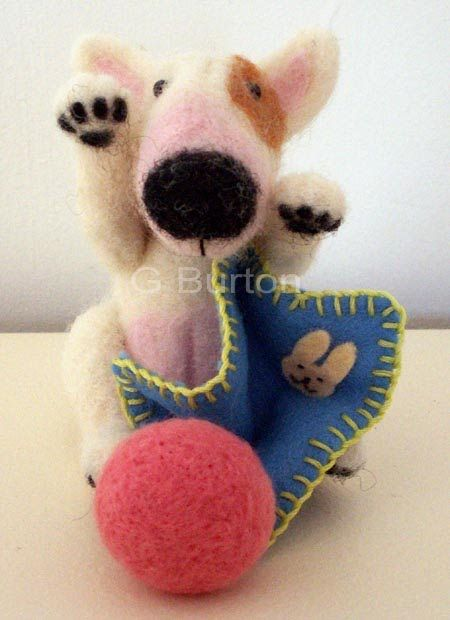Needle felted English Bull Terrier pup.