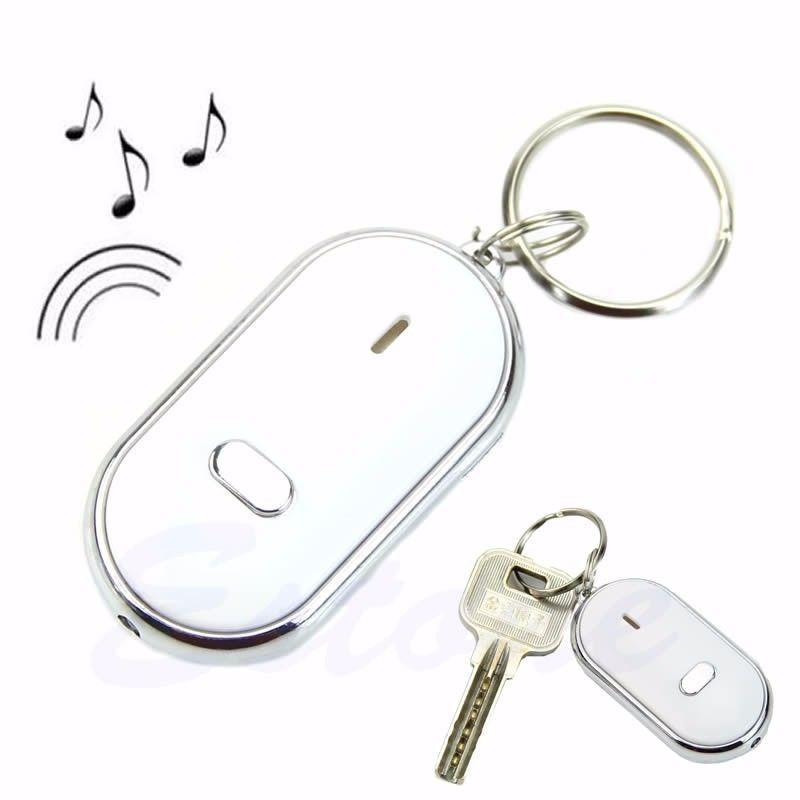 1x LED Key Finder Locator Find Lost Keys Keychain Whistle Sound Key Rings Blue
