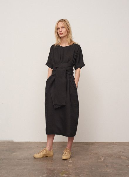 Sistina Roll Sleeve Dress In Graphite