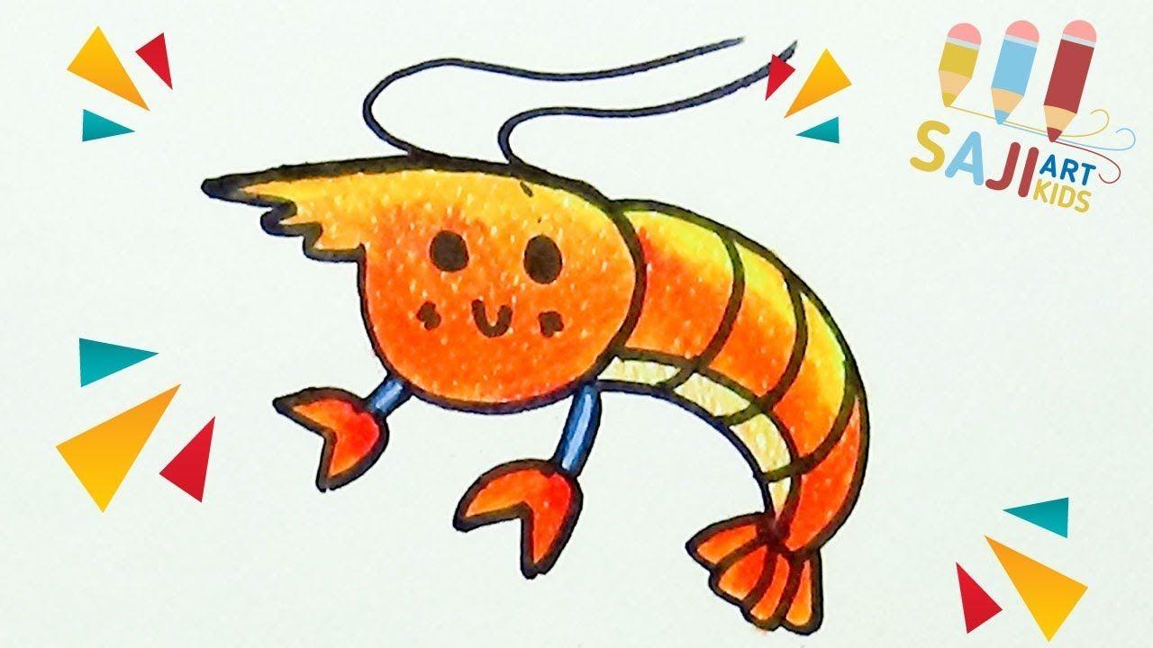 วาดร ประบายส ไม สวยๆ วาดร ปก งการ ต น How To Draw A Shrimp Step By
