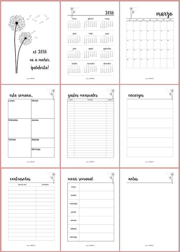 Agenda planificador imprimible y en español, para organizar bien tu
