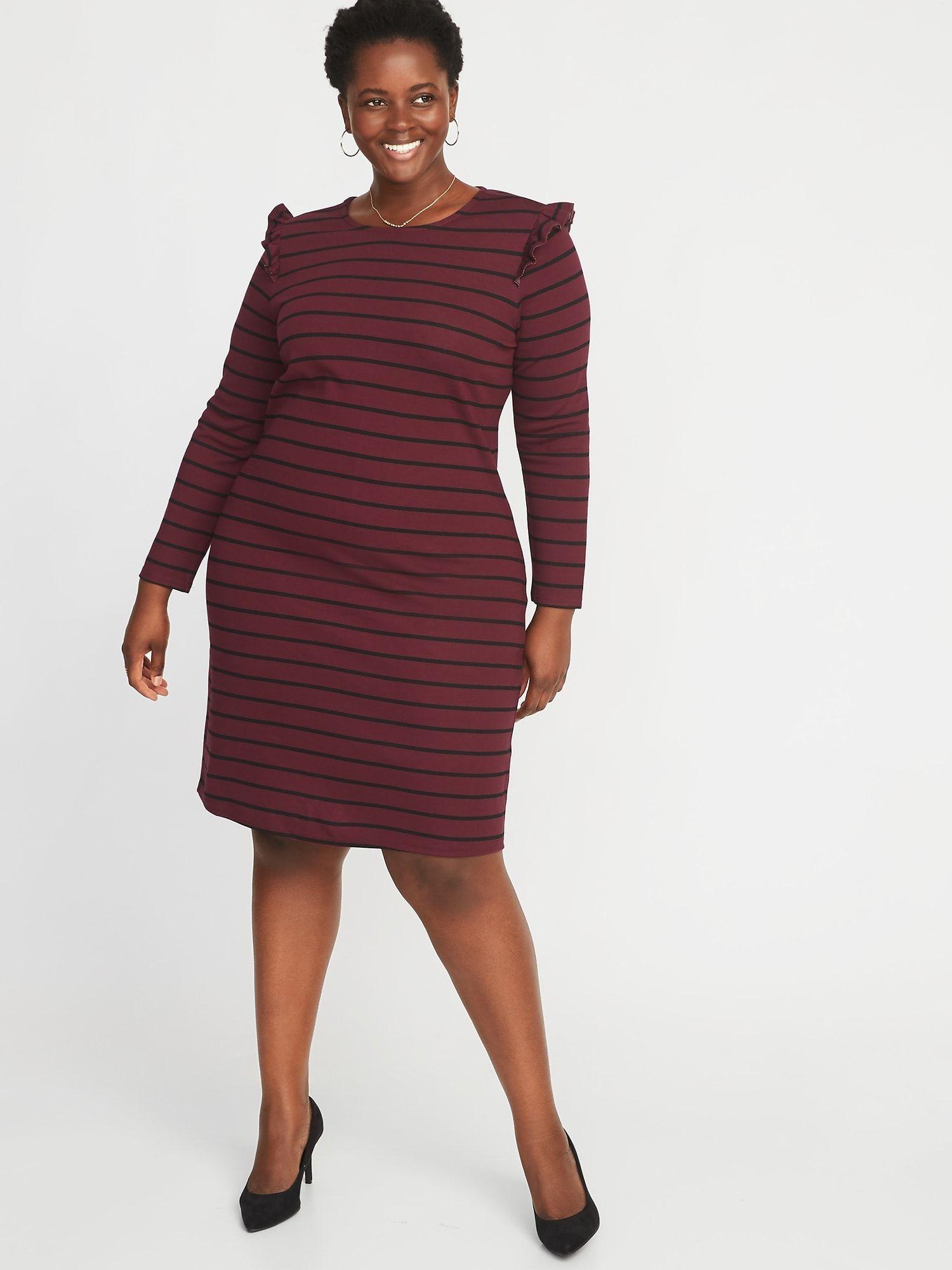 Plus-Size Ruffle-Trim Ponte-Knit Shift Dress | Clothes | Dresses ...