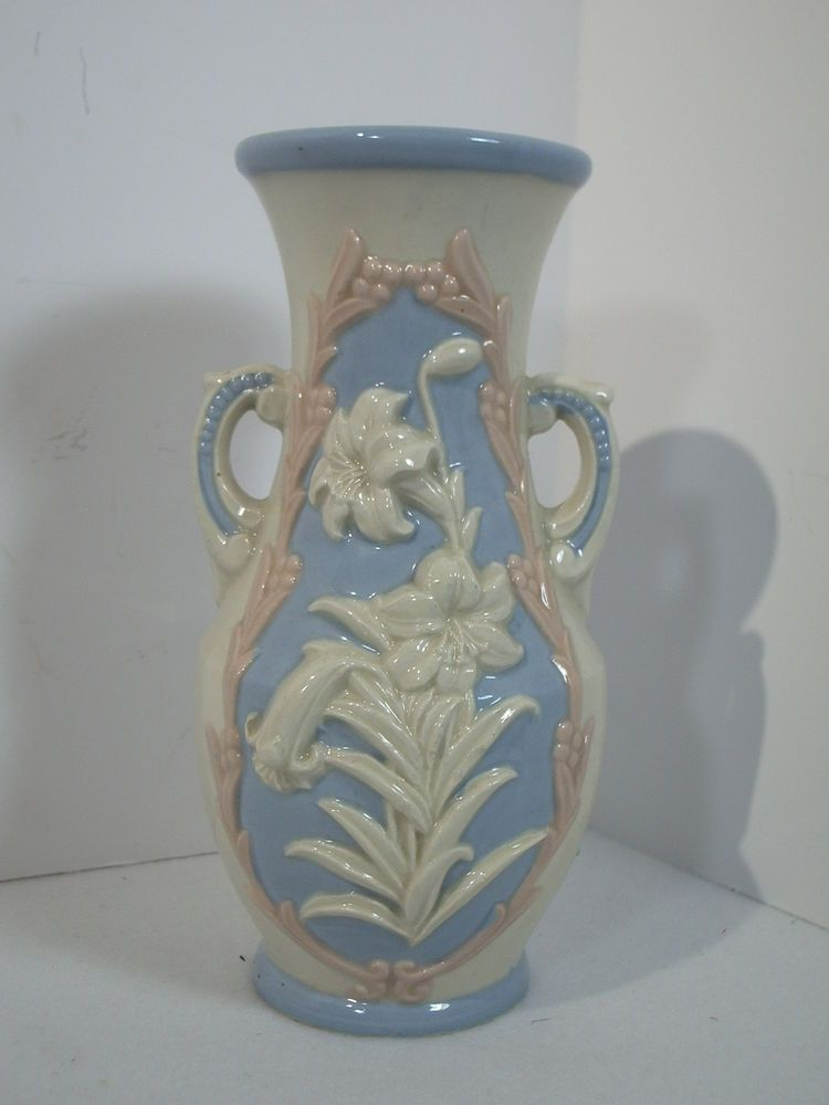 Made In Japan Vase Porcelain Bas Relief Flowers Lilies Cream Pink