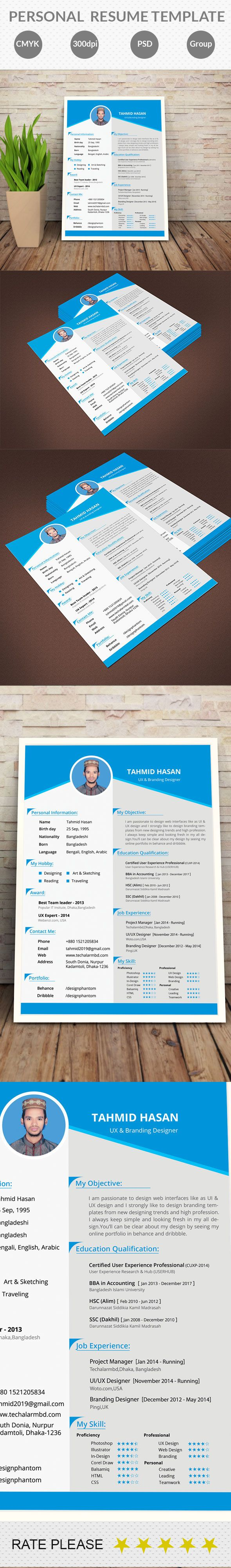 Free personal resume template for all of human being