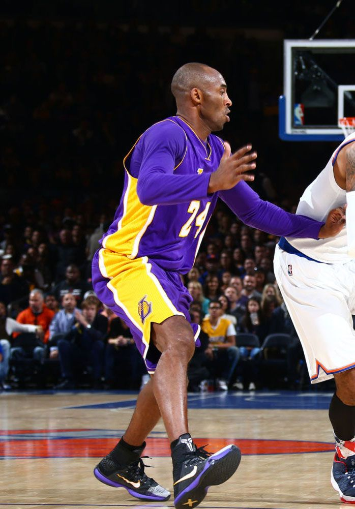 064c1d254116c ... Kobe Bryant wearing BlackWhite Toe Nike Kobe 10 Elite Lakers PE at  Madison Square ...