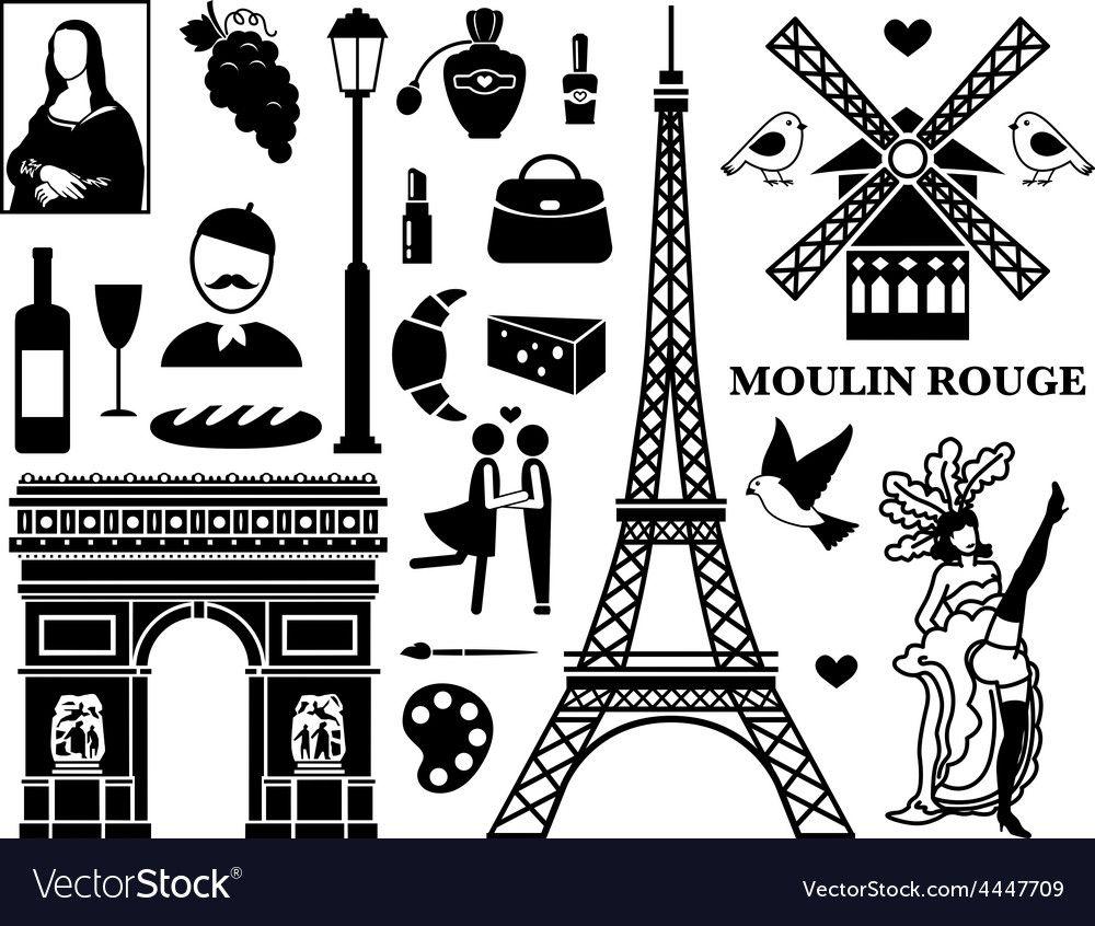 Paris icons Royalty Free Vector Image VectorStock 그래픽