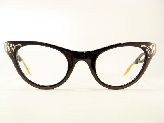 Vintage 50s Frame Matt Black Cat Eye Eyeglasses Sunglasses Glasses New Eyewear
