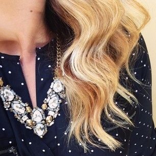 The Stella Dot Zora Crystal Necklace layered with polka dots | Instagram photo by misschrisycharms