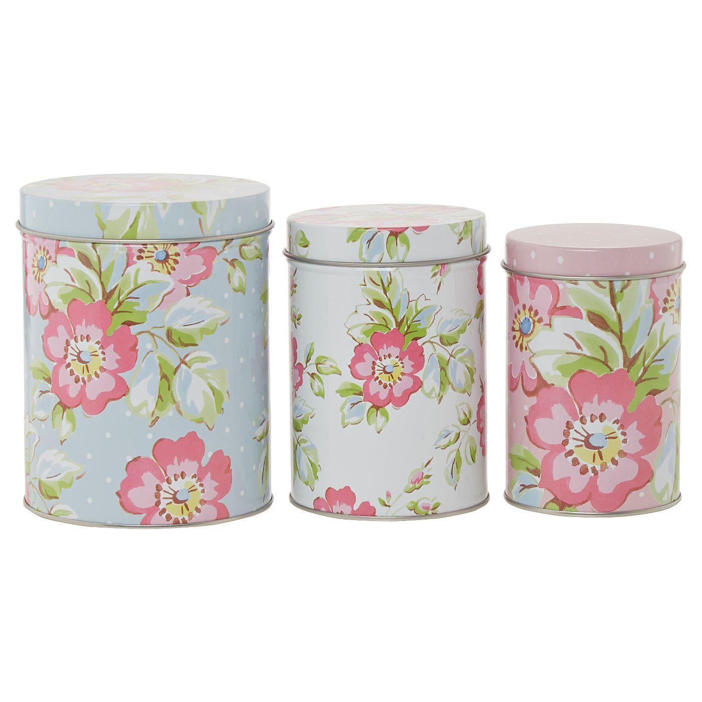 Katie Alice Candy Flower Set of Three Nesting Tins | Kitchen Storage ...
